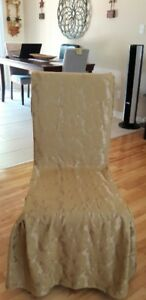 Set of 4 damask golden parson chair covers