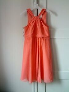 2 short coral bridesmaid dresses from Davids bridal