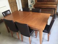 M&S Cherry wood extending dining table and 6 brown leather chairs £300