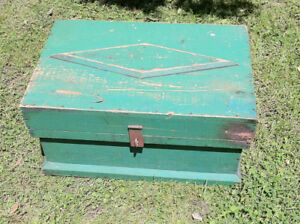 1890's small Quebec blanket box in original green paint