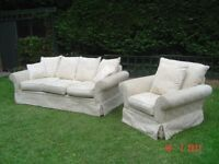 Fabric Three Seater Sofa with Matching Armchair. Clean Condition. Can Deliver.