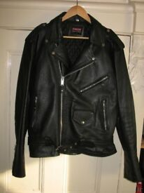 "Black Leather Jacket "" Biker Style""."