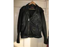 "Black Leather Jacket "" Biker Style""."