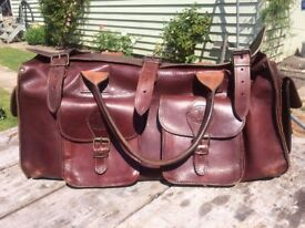 Two GENUINE Leather Holdall Bags ~ Great Weekender