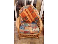 Upholstered cane chair