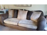 large sofa brown and biscuit colours/good condition