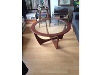 Vintage 60s Round Glass Coffee Table Eames Era Mid Century Wooden 50s Retro Atomic