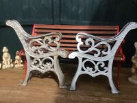 2 sets of heavy cast iron bench ends