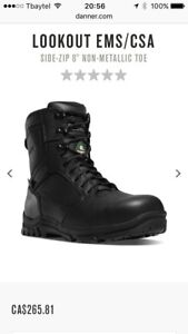 Men's size 10 CSA certified safety toe boots with a side zipper