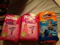 Huggies swimming, toilet training and little angels nappies
