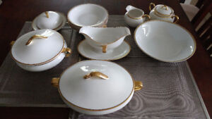 Dishes, Bavaria gold trim fine china big dining set. Estate $175