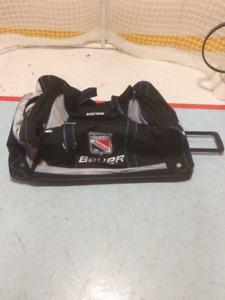Rolling BAUER Jr Rangers Goalie bag.