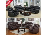 brand new 3+2 recliner sofa black or brown real leather
