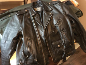Black leather motorcycle jacket