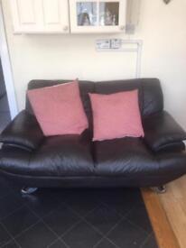 2 x seater sofa brown leather £30