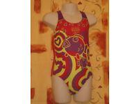 Childs Speedo Sea World One Piece Girls Swimsuit, Red, Purple & Green – Size 2