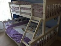 Triple Bunk Bed White Solid Wooden 3 Sleeper Bed Frame Double Single Size Frame