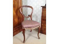 Mahogany antique chair with upholstered seat
