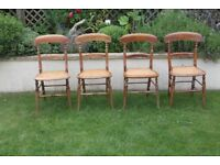 Wooden wicker seat chairs