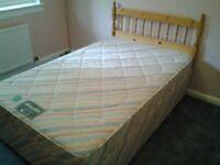 4 foot Divan double bed, mattress & pine headboard