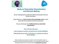 PARTICIPANTS NEEDED FOR ONLINE PSYCHOLOGY RESEARCH