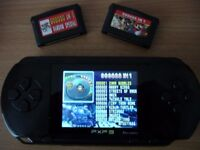 PXP3 HAND HELD GAMES CONSOLE + 2 CARTRIDGES