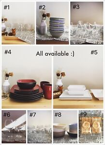 Dish sets and glassware
