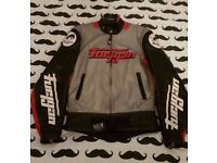 Furygan leather biker race jacket in silver red black & white. Great condition Size medium.
