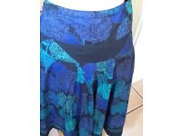 Fat Face black blue green fully lined skirt size 12