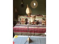 Pair of highly decorative twisting metal table lamps with twine wrapping