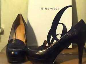New Nine West Black Abalene , Leather shoes size 10