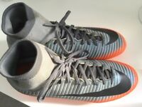 CR7 grey and orange sock football boots