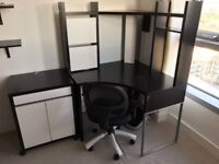 Desk- chair- cupboard- footrest