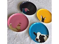 Joules bone china side plates x 4 (Established in the fields of Great Britain series)