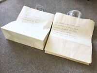 New 18 x Gift Bags - cream with French writing motif