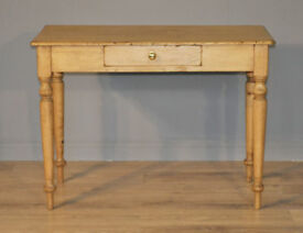 Attractive Rustic Antique Victorian Stripped Pine Hall Side Table With Drawer