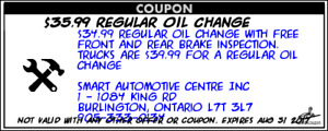 $35.99 regular oil change with free brake inspection
