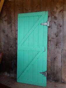 white steel front door......decorative barn door