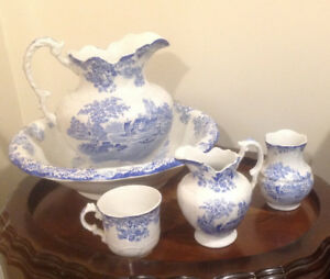 Antique Porcelain Wash Basin Set