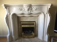 Complete marble fire place and surround with electric fire.