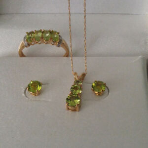 Genuine Peridot Set 10K Gold...obo