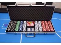 eSecure Metal 13.5g Poker Set 500 Piece with 2 decks, dice and buttons, and a carry case