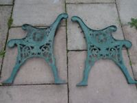 pair of attractive cast iron bench ends