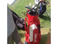 Red Spalding Golf Bag with Clubs