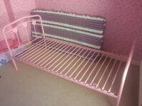 Girls pink metal frame bed. Like new