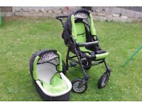 Pushchair with a carry cot.