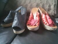 Womens wedge heeled shoes (2 pairs - size 5)