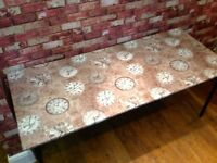 UPCYCLED DINING TABLE - COVERED IN WAHABLE VINYL - DISMANTLED - CAN DELIVER