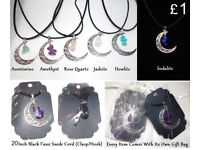 Crystal Moon/ Stone Pendant Necklaces/ Chakra Bracelets