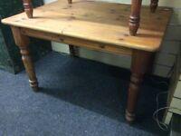 Reclaimed pine farmhouse table & 4 chairs